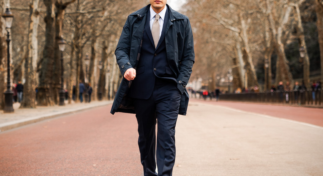 Best Jackets for your formal shirt, model walking with overcoat in London