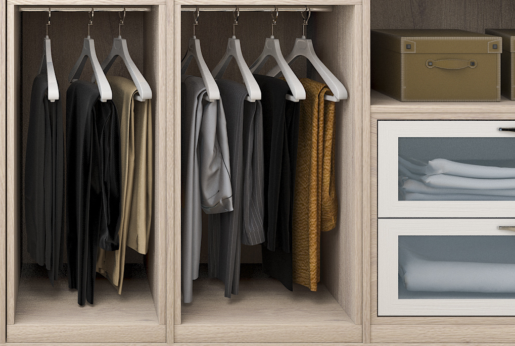 Wooden wardrobe with hanging business casual trousers and smart casual trousers